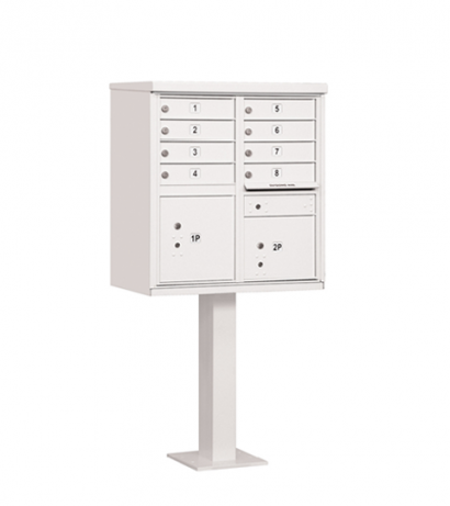8 Door Cluster Mailbox Includes Pedestal By Florence Manufacturing White