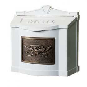 Gaines Wall Mount Mailbox White with Antique Bronze WM-4-Eagle