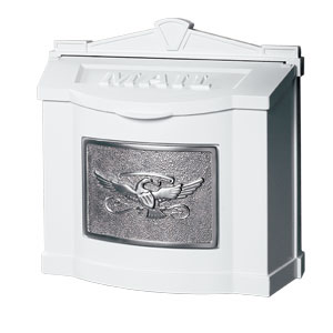 Gaines Wall Mount Mailbox White with Satin Nickel  WM-7-Eagle