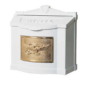 Gaines Wall Mount Mailbox White with Polished Brass WM-1-Eagle