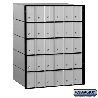 30 Door Aluminum Mailboxes - Rear Loading