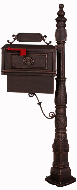 Better Box Mailbox and Post with Paper Box - Bronze