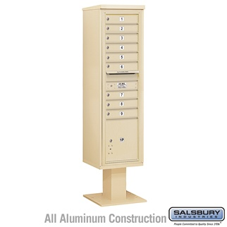 Salsbury 4C Pedestal Mailbox (Includes 13 Inch High Pedestal and Master Commercial Locks) - Maximum Height Unit (72 Inches) - Single Column - 9 MB1 Doors / 1 PL