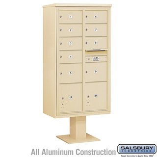 Salsbury 4C Pedestal Mailbox (Includes 13 Inch High Pedestal and Master Commercial Locks) - Maximum Height Unit (72 Inches) - Double Column - 7 MB2 Doors / 2 MB3 Doors / 2 PL