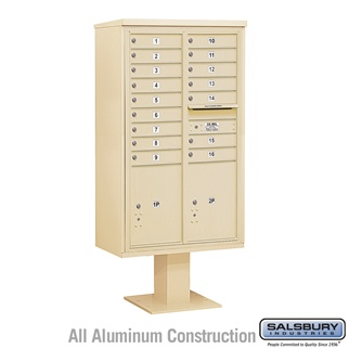 Salsbury 4C Pedestal Mailbox (Includes 13 Inch High Pedestal and Master Commercial Locks) - 15 Door High Unit (70-1/4 Inches) - Double Column - 16 MB1 Doors / 2 PL6